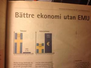 Diagrammet till vänster om skillnaden i tillväxt mellan Sverige och EMU-området var fel.