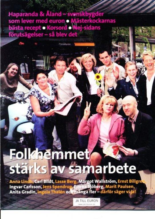 Det kan faktiskt bli så här kul och fredligt med euron. Baksidan av ja-broschyren ovan. Från: http://www.nejtillemu.com/valanalys.htm